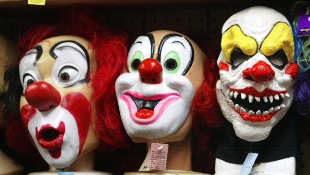 This is a display of clown masks. Clown sightings have been in the news around the country recently.