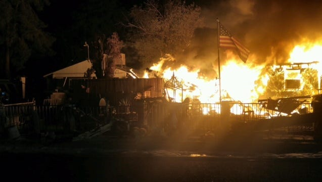 A mobile home caught fire on Sept. 22, 2016 in the 3600 block of West Monona Drive in Phoenix.