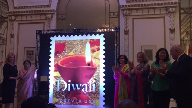 The first-day-of-issue dedication event was held at the Consulate General of India in New York.