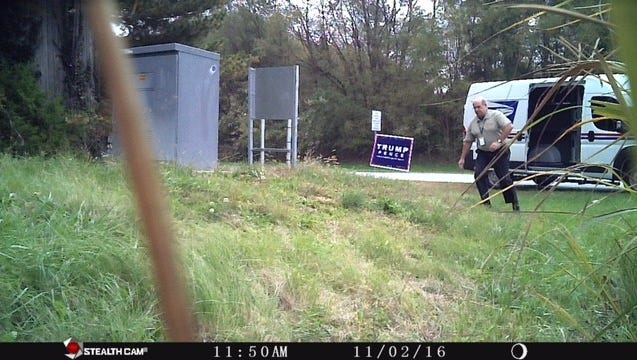 A postal worker is caught on camera allegedly stealing a Donald Trump campaign sign Thursday in Townsend.