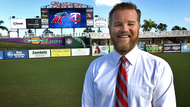 Ben Hemmen, new executive vice president of the Fort Myers Miracle, takes in his new surroundings.
