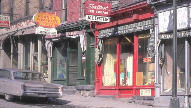 "Pre-1960s Rondout District, a neighborhood of small businesses in 19th-century buildings, is shown in a scene from ""Lost Rondout."""