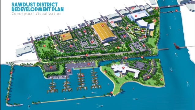 "The Greater Oshkosh Economic Development Corp. unveiled this vision for an Oshkosh ""Sawdust District,"" anchored by a stadium for a Milwaukee Bucks farm Club, mixed-use office space and a transformed Pioneer Resort and Marina."