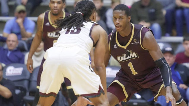 ULM switched to a four-guard lineup with sophomore Travis Munnings (1) a the lone forward spot.