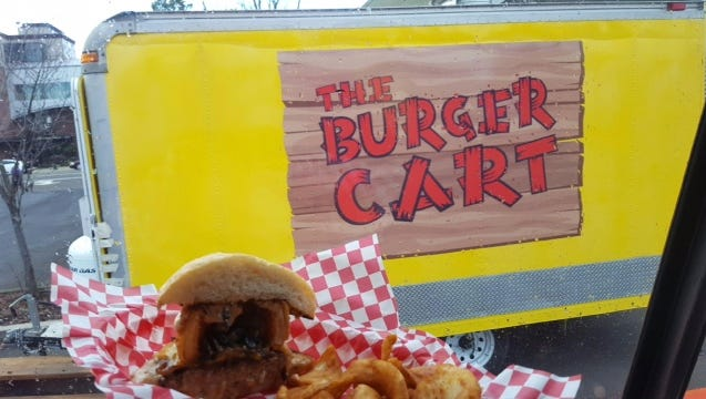 The Burger Cart, behind Barrel & Keg on Broadway, specializes in innovative burgers. The truck opened in mid-January. Try it yourself at Barrel & Keg,  1190 Broadway St. NE.