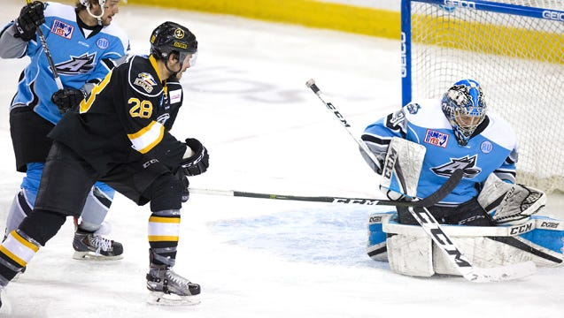 Colorado Eagles forward Shawn St-Amant looks for a rebound during Sunday's 4-1 win at Alaska.