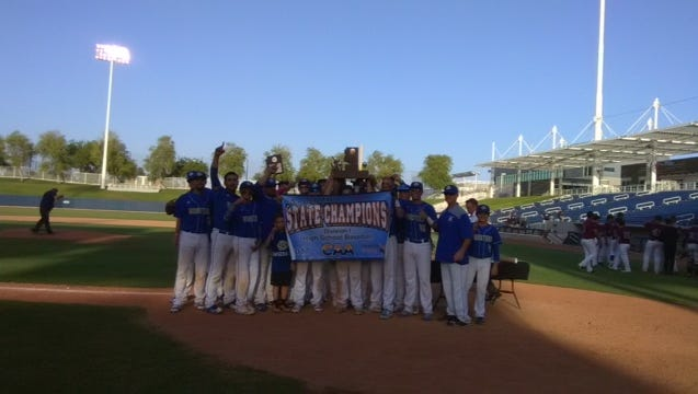 Gila Bend celebrates its CAA Division I title on Saturday at Maryvale Baseball Park.