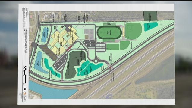Proposed site plan shows the entrance off Shangri La Road to encroach on property not owned by the Lee County School District.
