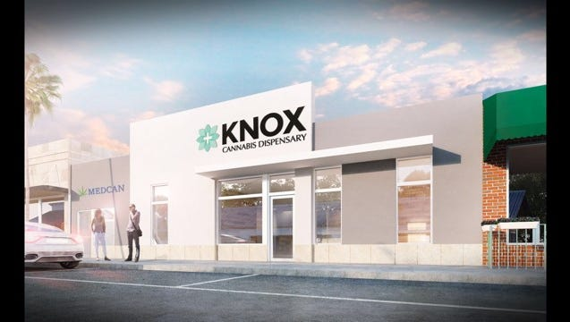 A rendering of the medical marijuana dispensary that will be located at 644-652 Frederick St. in Penn Township. (Photo courtesy of Knox Medical)