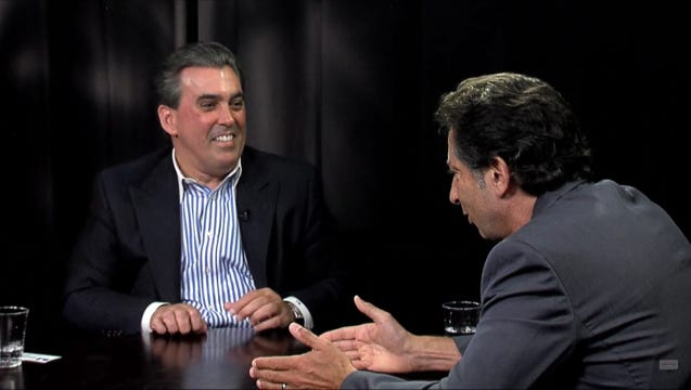Host Barry Farber, right, interviews Celebrity Motorcar owner-principal Tom Maoli.