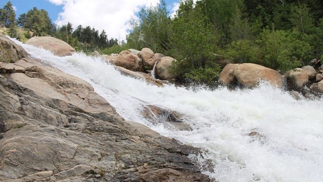 The waterfall at Alluvial Fan in Rocky Mountain National Park