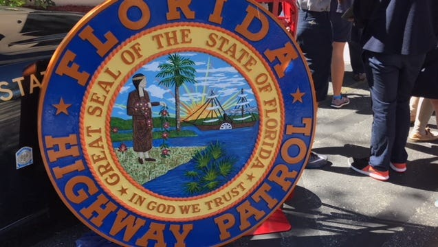 A state seal from the Florida Highway Patrol 's Troop F headquarters in Fort Myers.