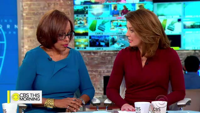 "Co-anchor Norah O'Donnell: ""Women cannot achieve equality in the workplace or in society until there is a reckoning and a taking of responsibility ... This will be investigated, this has to end, this behavior is wrong."""