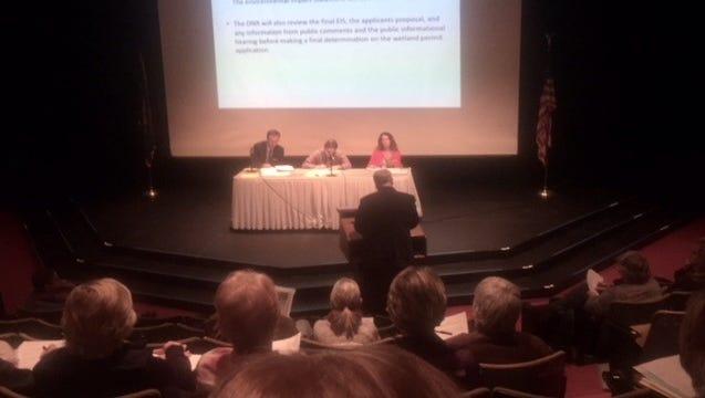 City of Sheboygan Mayor Mike Vandersteen addresses DNR representatives Dave Siebert, Jay Schiefelbein and Carrie Webb at a public hearing at UW-Sheboygan on Nov. 30.