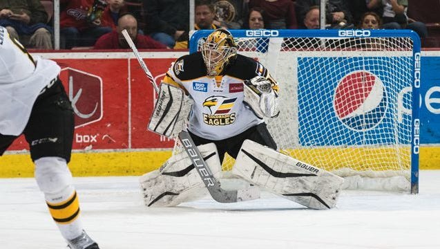 Courtesy Colorado Eagles Colorado Eagles goaltender Lukas Hafner drops to save a shot in Colorado?s 3-2 win at Idaho on Friday night. Colorado Eagles goaltender Lukas Hafner drops to save a shot in Colorado's 3-2 win at Idaho on Friday night.
