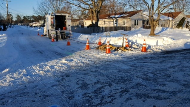 The scene of a major gas leak in Brick Township on Saturday afternoon, which forced authorities to evacuate 40 homes in the Lake Riviera neighborhood.