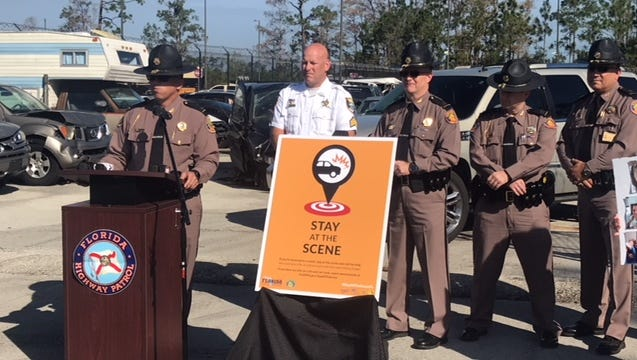 Florida Highway Patrol Lt. Greg Bueno talks about hit-and-run crashes at a press conference at the FHP office in Fort Myers.
