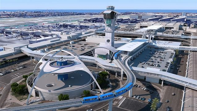 """This image provided by Los Angeles International Airport shows what its proposed """"people mover"""" said it might look like."""