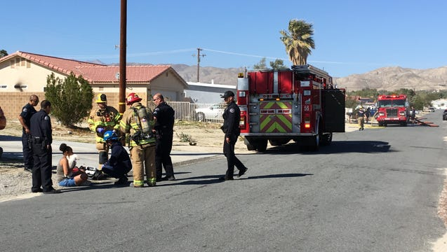 Desert Hot Springs police and Cal Fire responded to a house fire in Desert Hot Springs Sunday afternoon.