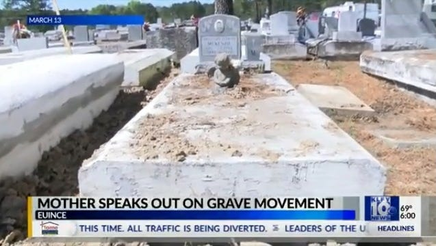 A mother who was trying to determine why her infant's grave was removed in Eunice has died.