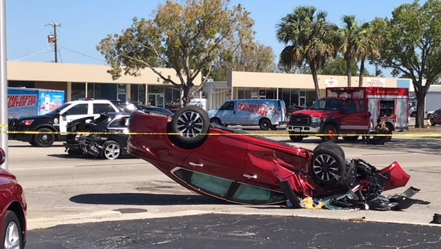 Fort Myers Police and emergency vehicles were at the scene of collision on Fowler Street at Kennesaw Street that closed down north and southbound lanes of Fowler Street on April 18, 2017.