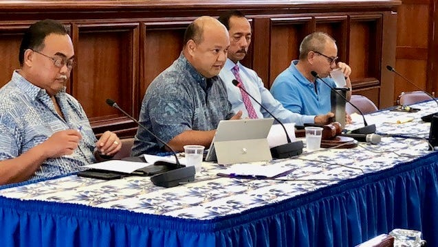 Education Superintendent Jon Fernandez, second from left, on Tuesday answers questions from senators regarding Sen. Frank Aguon's bill designating the Guam Department of Education as procuring entity for rebuilding Simon Sanchez High School. Senators continued on Wednesday the discussion of the school bill during a committee of the whole.