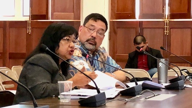 Department of Revenue and Taxation Deputy Director Marie Benito answers questions from senators during Wednesday's budget hearing on Rev and Tax's proposed fiscal 2019 budget, while Deputy Tax Commissioner Paul Pablo looks on.