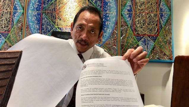 Speaker Benjamin Cruz, who's running for public auditor in a special election in August, shows an October 2017 letter he sent to the Department of Administration, asking the agency to stop transferring special revenue funds to the general fund.