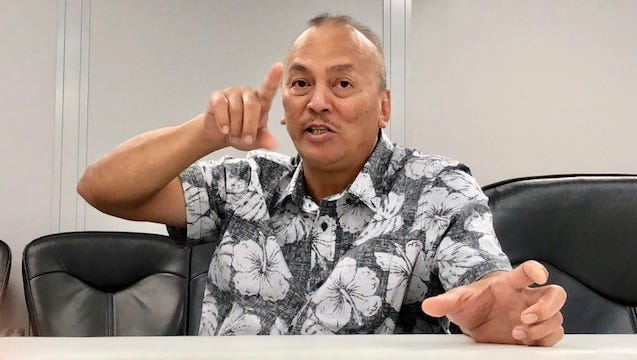 Department of Revenue and Taxation Director John Camacho gestures as he talks about the laws requiring a business license for those that operate a short-term vacation rental unit and bed-and-breakfast units, during an interview on July 10, 2018.