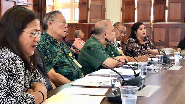 Port Manager Joanne Brown, right, who was recently tapped by the governor to help Guam Memorial Hospital, joins other hospital officials Friday in testifying in support of Speaker Benjamin Cruz's bill that would appropriate $5 million in tax amnesty collections to GMH so it can address Centers for Medicare & Medicaid Services concerns and prevent it from losing Medicare funding by Oct. 3.