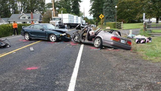 Troopers responded to a two-vehicle crash on Highway 211 Wednesday.