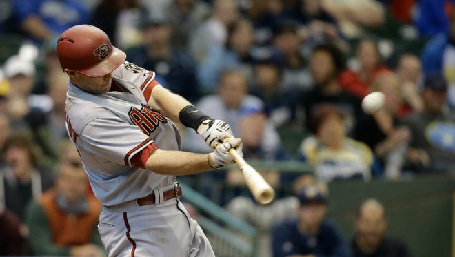 Arizona Diamondbacks' Paul Goldschmidt hits a three-run home run against Milwaukee Brewers' Kyle Lohse during the fourth inning of a baseball game Saturday, May 30, 2015, in Milwaukee.