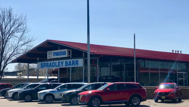 Spradley Barr Mazda as seen from the southwest corner of Drake Road and College Avenue.
