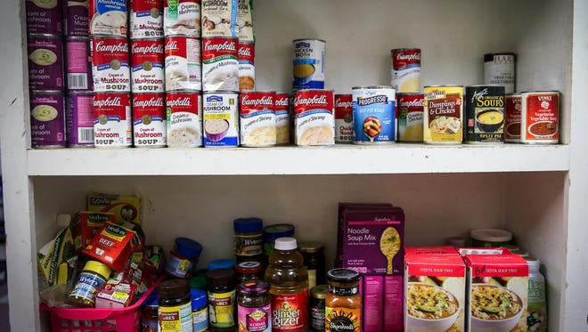 The pantry is stocked with food for the Daily Bread Soup Lunch Program at Trinity United Methodist Church.