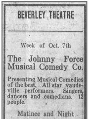 Newspaper notice for the Beverley Theatre appearance