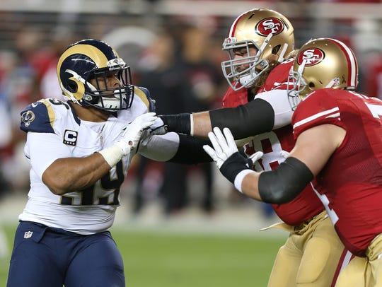 Rams defensive tackle Aaron Donald (99) draws plenty