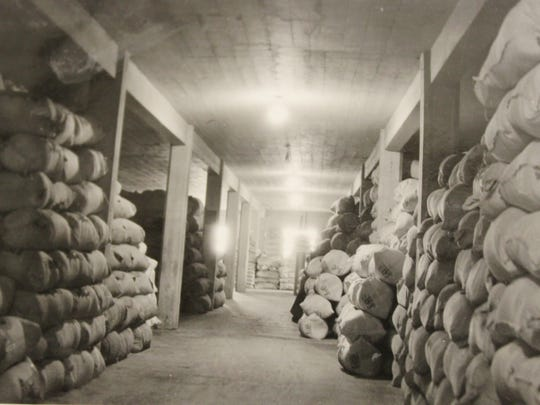 In this undated photo, stacked flour is stored in the Montana Flour Mills building.