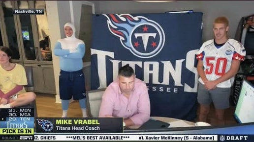 The bizarre scene inside the home of Tennessee Titans coach Mike Vrabel as the Titans made their first-round pick during the 2020 NFL draft.