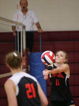 Winneconne girl's voleyball team hosted a Varsity Invitational, vs. Denmark, St. Mary Central, Stockbridge Tuesday, August 26, 2014.