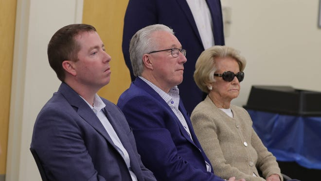 Left to right: Detroit Lions general manager Bob Quinn, president Rod Wood and owner Martha Ford listen as coach Matt Patricia takes questions from reporters about a dismissed sex assault case May 10, 2018, in Allen Park.
