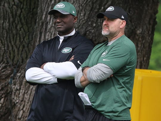 The Jets head coach Todd Bowles and offensive coordinator