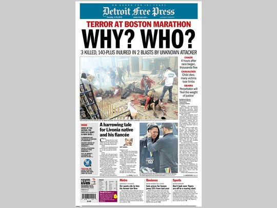 The front page of the Detroit Free Press from April 16, 2013.