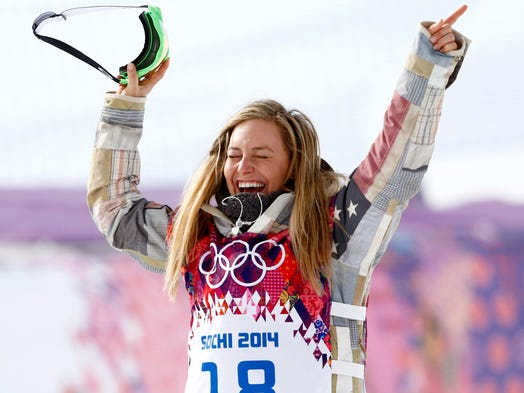 Jamie Anderson (USA) reacts after winning gold in the inaugural women's slopestyle.