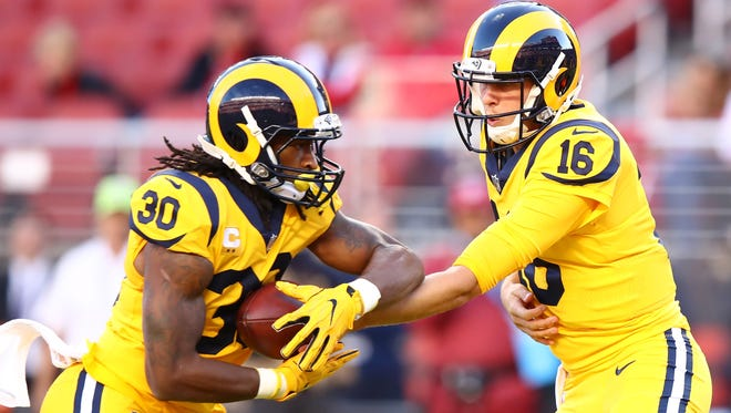 Quarterback Jared Goff, handing off to running back Todd Gurley, have helped make the Rams an offensive force so far in 2017.