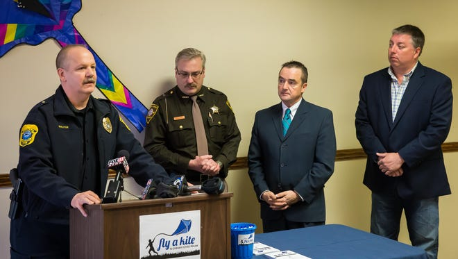 Police Chief Tom Molitor speaks to about the importance of child abuse prevention programming during the kickoff of the annual Blue Kite Campaign.
