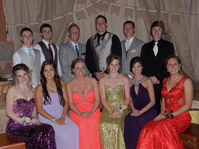 2014 Windsor High School prom royalty include, front row, Madalyn Geuke, Mackenzie Armijo (princess), Aleksy Waterman, Noelle Geuke, Annie Cook (queen) and Rachel Winter; and, back row, Tanner Bohm, Jakeb Gallagher (prince), William Dressor, Zachary Peck, Brandon King (king) and Nicholas Bosso.