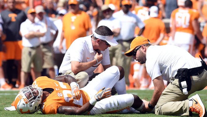 Tennessee defensive back Cameron Sutton (23) is hurt during the game against Ohio on Saturday, September 17, 2016 (AMY SMOTHERMAN-BURGESS/NEWS SENTINEL)