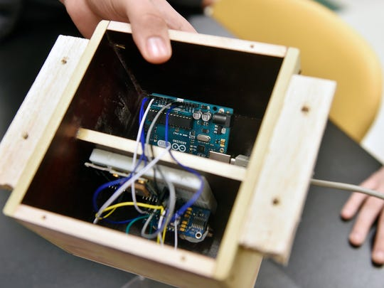 This device, built by a Red Lion team of five students, contains a motion sensor and GPS unit that can detect potholes in the road from the bottom of a moving vehicle. The team  -- four seniors and one junior -- won the regional level of the Governor's PA STEM Competition.