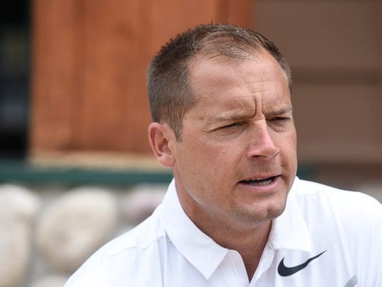 University of Minnesota head football coach P.J. Fleck talks about his plans for the season during an interview as part of the Gopher Road Trip event Wednesday, June 7, at The Grands at Mulligans in Sartell.