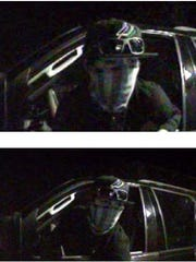 Police released surveillance images of a man wearing a bandana covering part of his face, wearing a black T-shirt and a black cap.